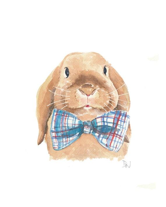 Rabbit Watercolour, Floppy Eared Bunny Original Painting, Plaid Bowtie, 8x10