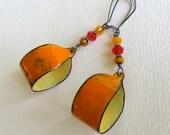 Orange Hoop Earrings, Orange Earrings, Enamel Jewelry, Gypsy Earrings