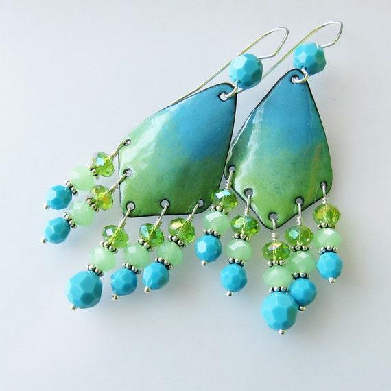 Ombre green & blue enamel earrings, enamel jewelry beaded chandelier earrings bohemian gypsy