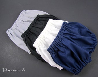 Infant & Toddler Baby Bloomers - Diaper Covers - Neutral Colors - Black, White, Navy or Grey - Size Newborn, 3m, 6m, 9m, 12m, 18m, 24m or 3T