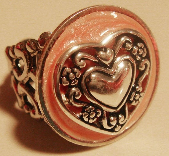 Silver heart filigree ring adjustable