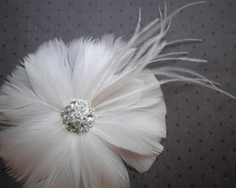 White, Wedding, weddings, hair, accessory, Bridal, Accessories, Feather, Facinator, hair clip, ivory, fascinators, Bride - WHITE BLOSSOM