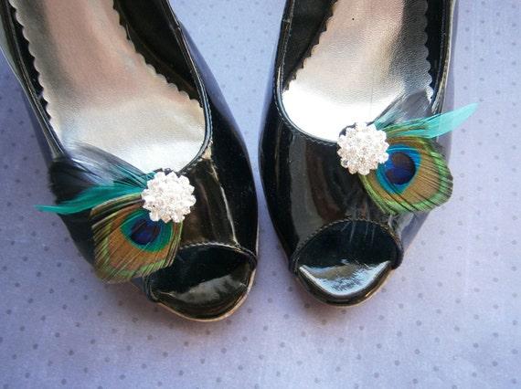 Shoe clips, Peacock shoe clips, Bridal, Feather accessories, Wedding shoe clips, black, teal, aqua, turqoise, green, emerald - PEACOCK BLACK