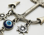 Anchor Wall Hanging Amulet Handmade Turkish Silver Plated Evil Eye Bead
