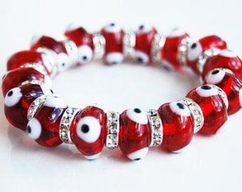 Evil Eye Beads Handmade Glass Bracelet