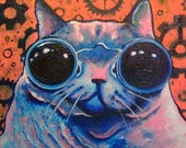 Original Painting - Steampunk Cat - Acrylic Painting - Cat Painting - Orange Painting - Blue Painting - Pink Painting - Small Painting