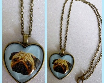 Pug Heart Cameo Necklace