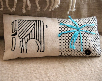 Elephant Print Cotton with Raffia Embellished Pillow