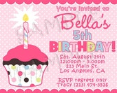 Cupcake Girl Birthday Party Invitations You Print Personalized Customized 7x5 Invite