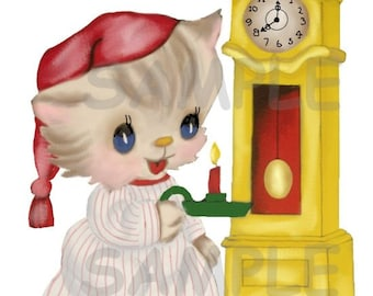 Vintage Kitten in Night cap with grandfather clock holding a candle Digital vintage greeting card image,  Printable, download