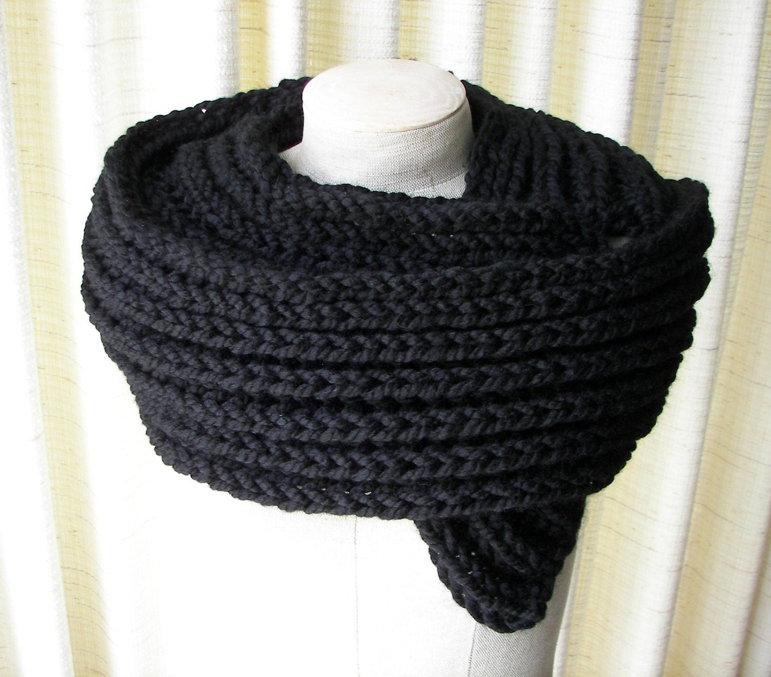 Mens Knit Patterns : Black Hand Knit Wool Scarf For MEN By Nevita On Etsy