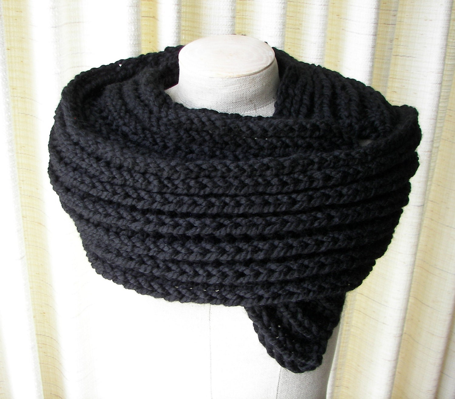 Pattern For Baby Booties Knitted : Classic BLACK Mens Scarf Chunky RIB KNIT Hand Knitted By ATIdesign