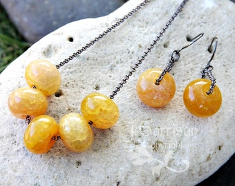 Dark Honey Necklace & Earring set- Dragon veins agate gemstones in deep yellow amber and gunmetal black - Modern chic- free shipping in USA