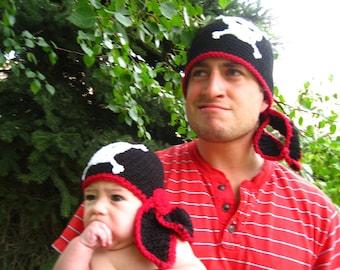 CROCHET PATTERN - baby pirate hat bandana and eye patch PDF pattern all sizes