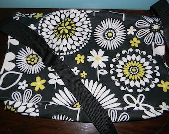 Black modern floral messenger bag
