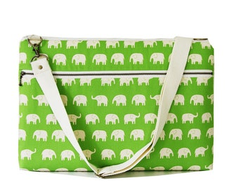 Laptop Bag For 15 inch with Shoulder strap and Zipper pocket-Green  Elephant-Ready to ship