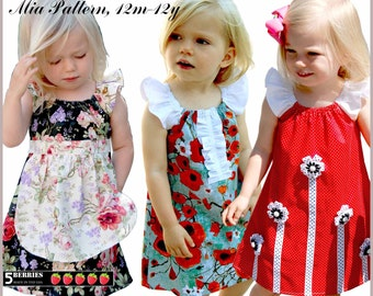 Mia peasant dress pattern + Free Mother-Daughter Apron Pattern, Sewing patterns for children, pdf, tutorial, 5 berries, baby, toddler