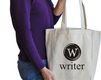 writer canvas tote bag
