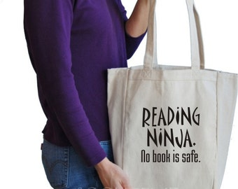 reading ninja tote bag