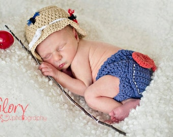 Baby Boy Fishing Hat & Diaper cover Newborn Photo prop