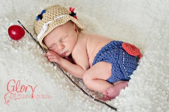 Baby Boy Fishing Hat & Diaper cover Newborn Photo prop