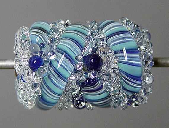 Artisan Lampwork Focal Bead Blue Barrel