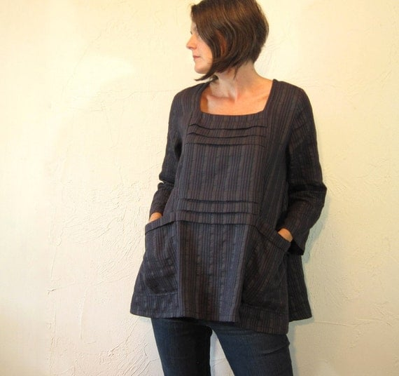 Tuck Tunic - Linen Blend Oversized in Grey Multi Color Stripes