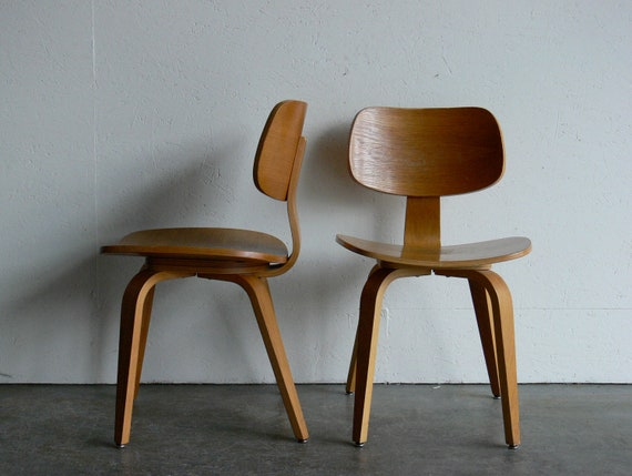 vintage mid century modern thonet plywood chair set of 2. Black Bedroom Furniture Sets. Home Design Ideas