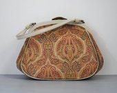 60's vintage tapestry purse. 1960s gold bag. white. cloth. top handle. medium.  paisley bag 60 70.