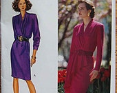 Vintage 80's Misses' Fast & Easy Mock Wrap Dress, Butterick 4297 Sewing Pattern UNCUT Sizes 12, 14, 16