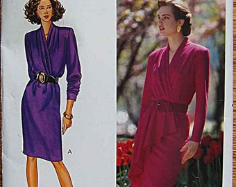 Vintage 80's Misses' Fast & Easy Mock Wrap Dress, Butterick 4297 Sewing Pattern UNCUT Sizes 12, 14, 16