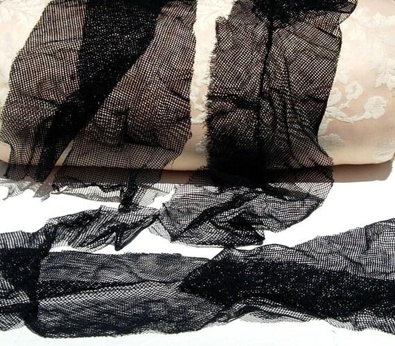 Antique Lace Vintage Lace Black Cotton Net Victorian Dress Millinery Veil Lace Lot