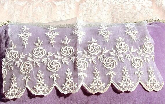 Antique Lace Vintage Lace Edwardian Dress Organdy Embroidered Lace Remnant