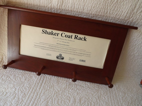 Shaker Coat Rack with Center Insert to Display Needlework