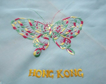 Vintage blue scarf with embroidered butterfly and Hong Kong