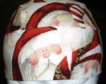 Santa's Face Skull or Chemo Cap, Do Rag, Hats, Biker, Kids, Motorcycle, Head Wrap, Helmet Liner, Hair loss, Christmas, Surgical, Alopecia