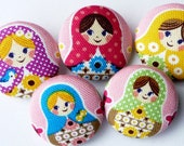 5 Matryoshka Russian Dolls buttons 1 1/8 inches