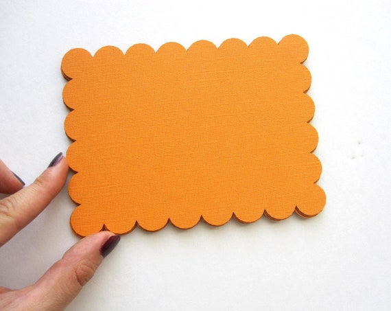 12 Scalloped rectangle (5.4 x 4 inches) Textured cardstock, Pick your color  A249
