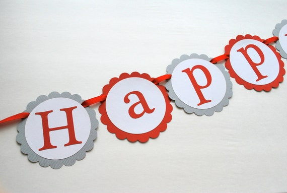 Happy (age) Birthday - Birthday Custom Age banner - CUSTOM colors available - Assembled banner A284