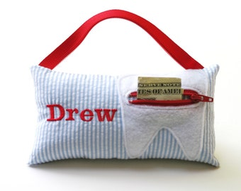 Boy's Seersucker Personalized Tooth Fairy Pillow
