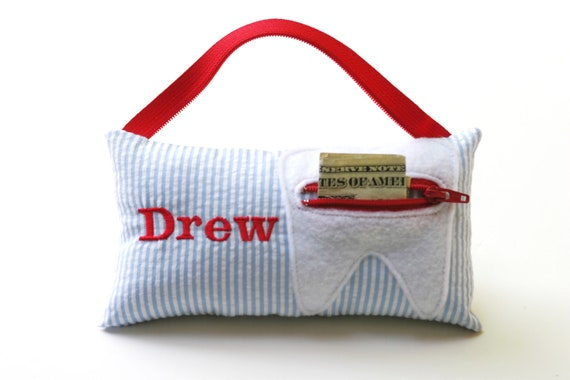 Boy's Seersucker Personalized Tooth Fairy Pillow