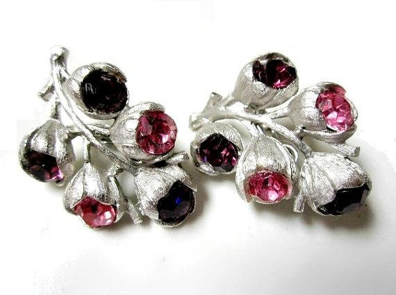 Vintage Sarah Coventry Pink Purple Rhinestone Clip Earrings
