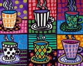 Coffee Cups Art Kitchen Wall Decor Art Poster Print of painting by Heather Galler Painting Folk Art (HG317)Digital File
