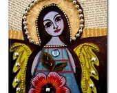 65% Off- Mexican Folk Art Ceramic Tile  Angel Virgin of Guadalupe Art  Mexican Talavera Tiles Gift COASTER