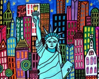 Statue of Liberty Art New York City Art Poster Print of painting by Heather Galler of Painting (HG853)