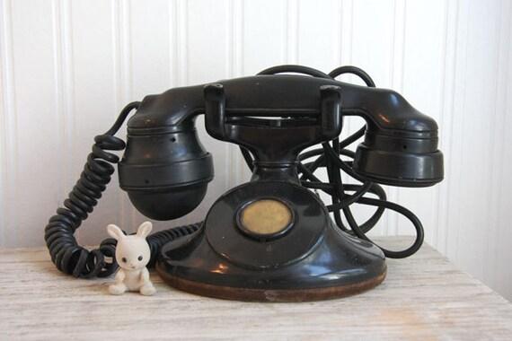 ON SALE, Antique Phone, Black 1920s Bakelite Western Electric Art  Deco  home  or set design piece