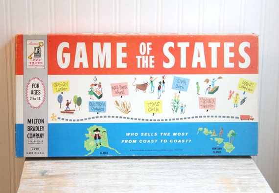 ON SALE Vintage Board Game, Game of the States, Milton Bradley, 1960, USA, Americana, Summer time games