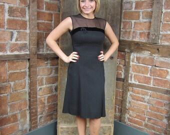 1960s Black Dress/ Ann Fogarty Dress/ Little Black Velvet Dress