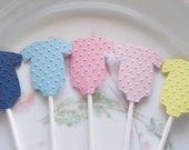 12 Baby Onesie Cupcake Toppers Choose Color Embossed or Plain