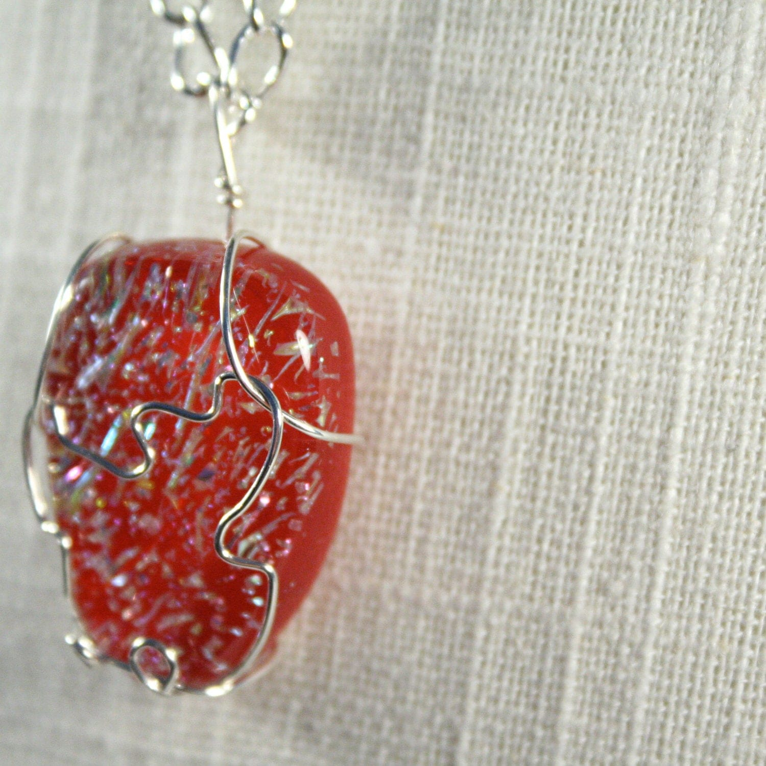 Necklace: Red strawberry glass with wire wrap, Watermelon necklace, strawberry necklace, Red Necklace, Summer Necklace
